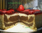 Vegan Chocolate Vanilla  cheesecake with berries , love,wedding,birthday,healthy,no eggs,no dairy, vegan suprise