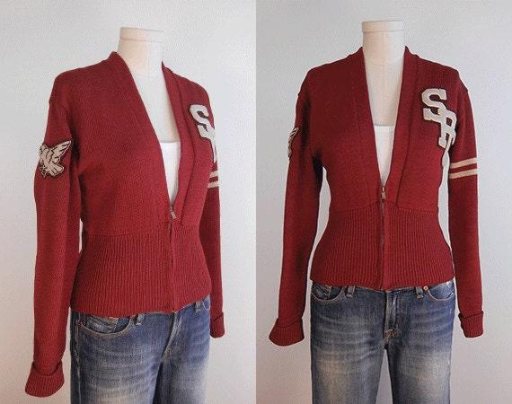 Vintage Letterman's Sweater / 1950s Burgundy Wool Letterman Cardigan