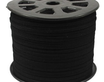 5 yards black faux suede cord 3mm wide