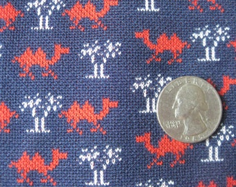 Camels and Palm Trees, Vintage Polyester Fabric 1 Yard