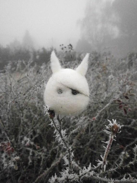 White Chibi - felted toy