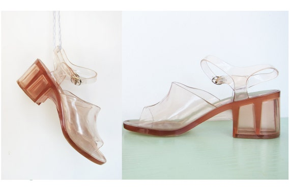 Clear Vintage High Heel Jelly Sandals