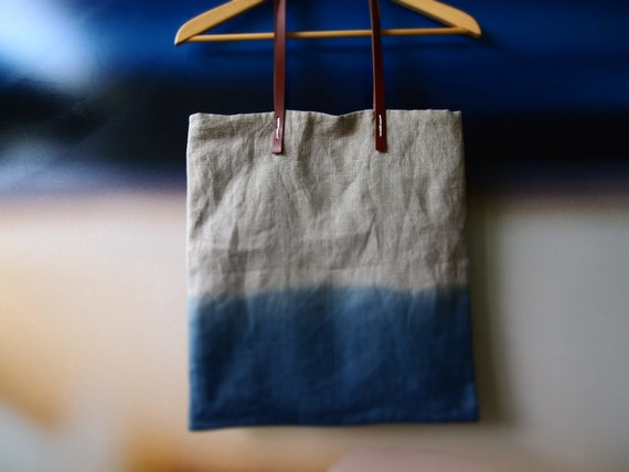 Ombre tote bag with leather handles  Misty Ocean Blue Organic dip-dyed natural Indigo linen easy