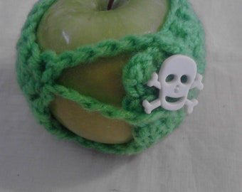 Lime Green Apple Cozy with Skull