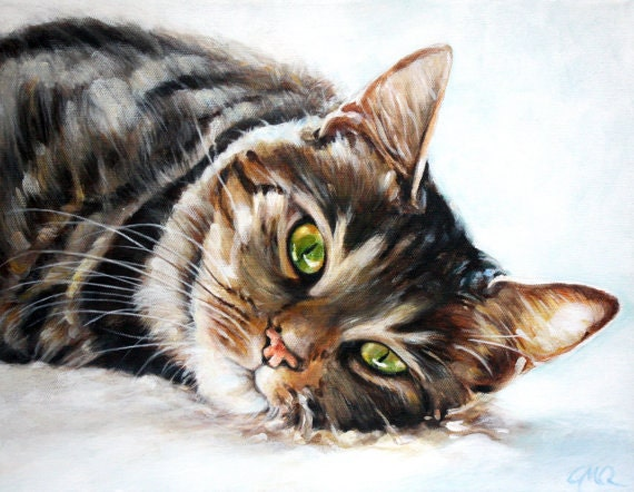 Items similar to custom pet portrait pet oil painting for Cat paintings on canvas