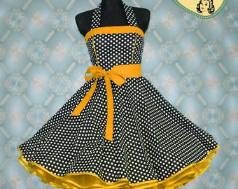 50's vintage dress full skirt black white yeallo polka dots Retro Dress Tailor Made