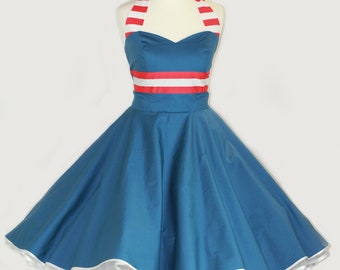 50's vintage dress full skirt Maritim blue red white Tailor Made after your measurements