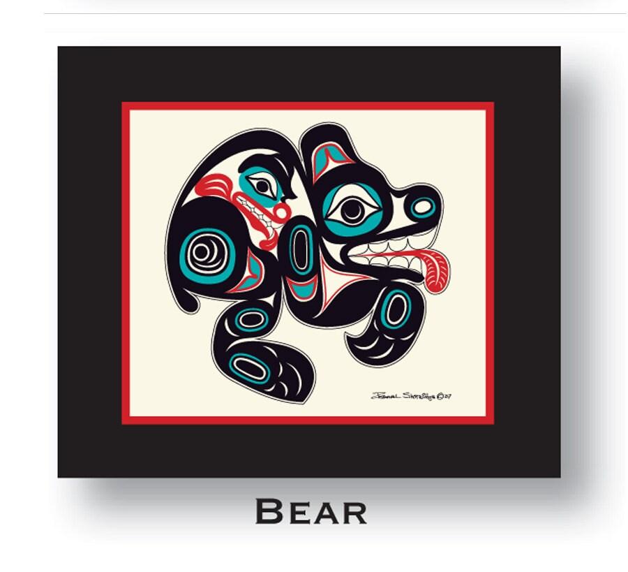 Bear 10x12 Matted Art Print Tlingit Northwest Native American