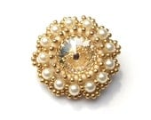 Brooch Beaded Swarovski Crystal Pearl Beaded Brooch Cream Gold Statement Dress Pin Brooch Handbeaded
