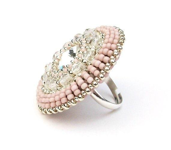 Ring Beaded Swarovski Statement Unique Cocktail Ring Rose Pink Silver Beads Swarovski Crystal Adjustable Ring Band