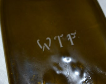 WTF Etched Brown Glass Wine Bottle Cheese Tray/Platter