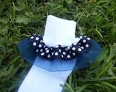 Double layer Ribbon Ruffle Socks - Navy Blue Polka Dot with Sheer Blue Organza