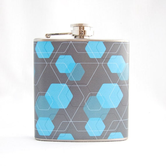 Hexagon Flask : Cyan Blue and Grey Pattern, 6 oz Stainless Steel Hip Flask, Velour Bag Included