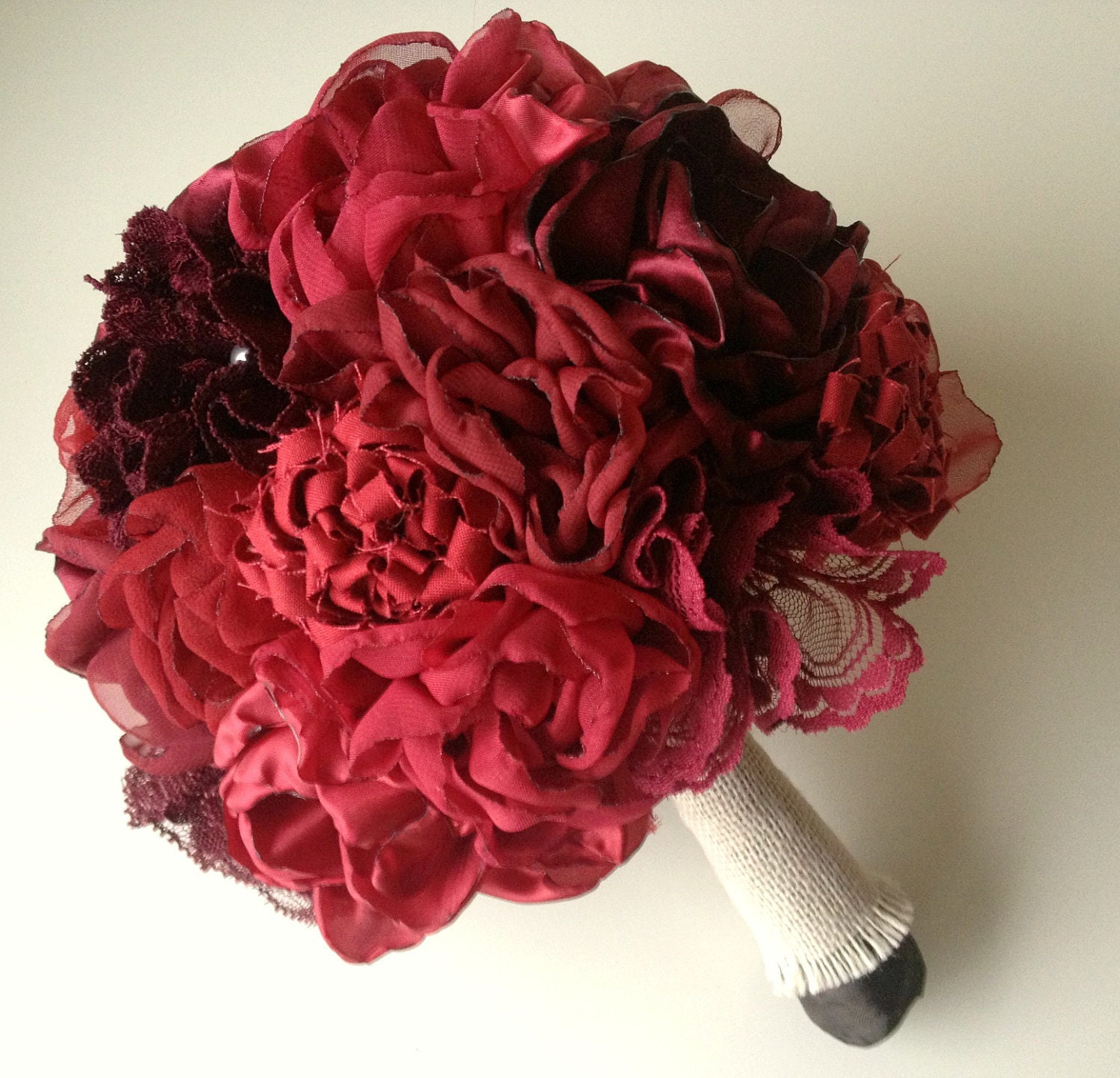 Red Bridal Bouquet Fabric Flower Bouquet Rustic Chic By