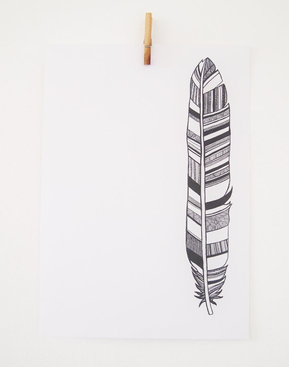 "Feather Print 16.5"" x 11.7"" - Black and White Illustration, A3 Art Print"