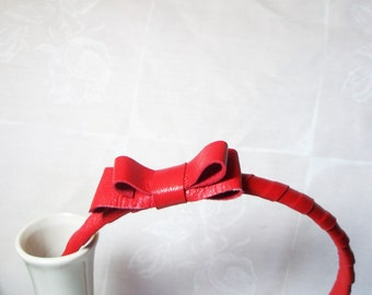 Red Leather  Wrapped  Headband  with Bow Free Worldwide shipping