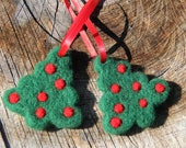 Needle felted Christmas Tree Ornaments.