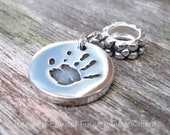 Hand Foot Or Paw Print Silver Charm With Name/Text On Reverse To Fit European Snake Chain Style Bracelets, Fingerprint Jewelry Charm