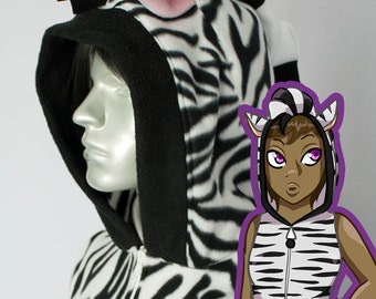 Zebra Hoodie, Costume, Cosplay, Adult Size, Hand-made