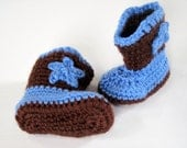 Crochet  Baby Cowboy/Cowgirl Boots -- Choose your own colors -- Baby sizes