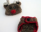 Crochet Reindeer Hat and Matching Diaper Cover- 0 - 3 month and 3 - 6 month size