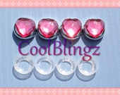PINK HEART Rhinestone Screw Caps Covers for Crystal Bling License Plate Frame