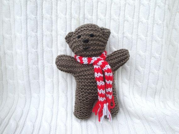 "Hand Knit Bear, Little Brown Bear in Scarf, 6"" Waldorf Toy, Huggable Plush Teddy, Pocket Teddy Bear"