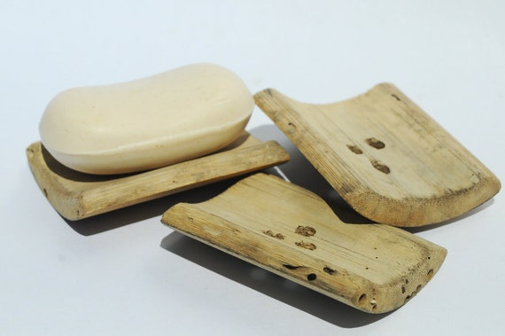Bamboo Soap Dish, Three Standard Size Wood Bath or Kitchen Soap Trays, Tropical Bathroom Home Decor