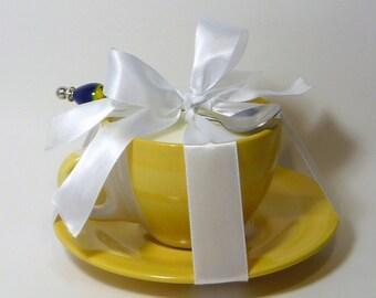Ylang - Ylang Soy Massage Candle Gift Set . Lampwork Spoon . Ylang - Ylang