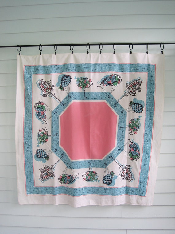 Vintage Tablecloth Pink and Aqua Blue, Retro Vintage Kitchen, 1950s Pineapples, Baskets, Fruit and Leaves