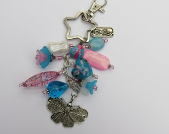 Pink, White and Blue Beaded keychain, purse charm.
