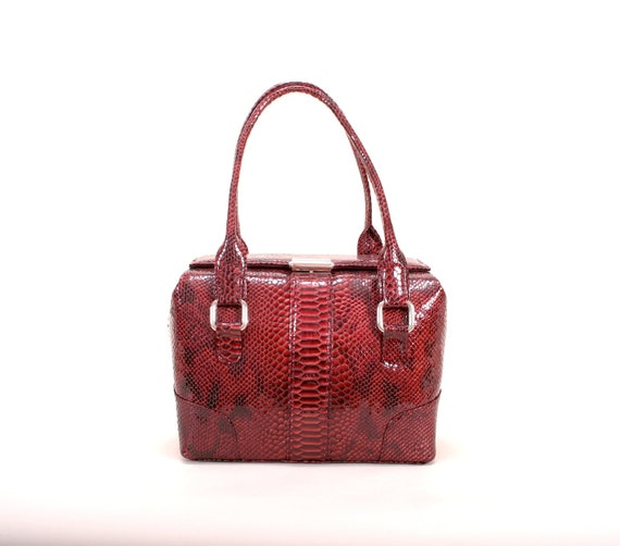 BORBALA //  leather top handles/handbag/shoulder bag, in claret/red - SNAKE printed, patent (italian calf leather) - FREE shipping