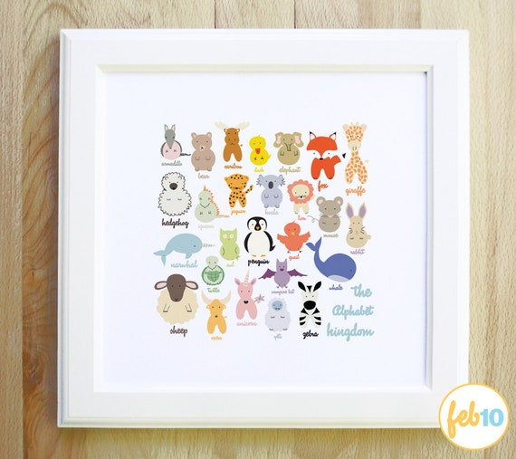 The Alphabet Kingdom woodland nautical and mystical animals and creatures colorful large 12x12 art print for children nursery and baby gift