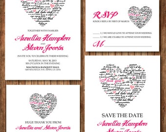 Fuchsia and black Heart Wedding Invitation RSVP Thank you card Save the date DIY Printable - Customized