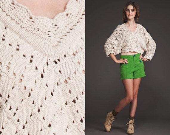 Vintage 90s Crop crochet Sweater top//X S M//Bat Wing//cream white//80s // kimono