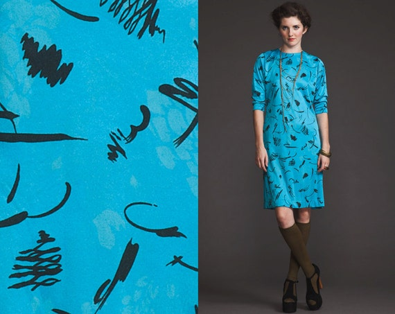 Vintage 80s 90s Bat Wing electric Blue Dress//S M//Print//brush stroke pattern