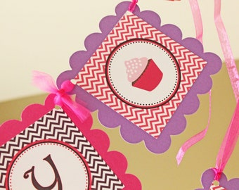 Cupcake theme Happy Birthday banner -Pinks and Purples