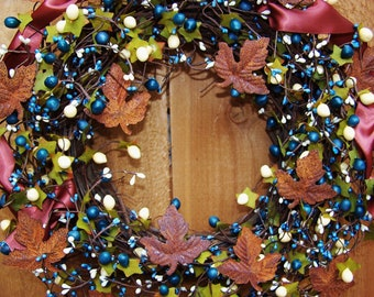 Fall Wreath-Front Door Wreath-Winter Wreath-Fall Door Wreath-Winter Door Wreath-RUSTIC BLUE Rusty Leaves Berry Door Wreath-Wreath-Wreaths