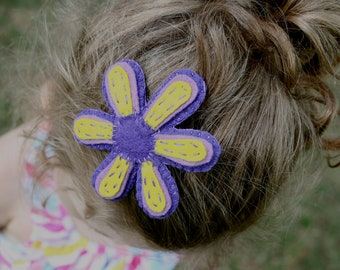 Purple Flower Felt Clip
