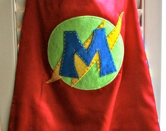 Kids Superhero Cape-PERSONALIZE/CUSTOMIZE RED Boys Superhero Costume - Choose the Initial - Superhero Birthday Party Costume