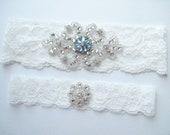 Wedding Garter PALE BLUE JEWEL Vintage Style Blue Jewel True Light Bridal Ivory Lace Garter Crystal Flower Toss Garter