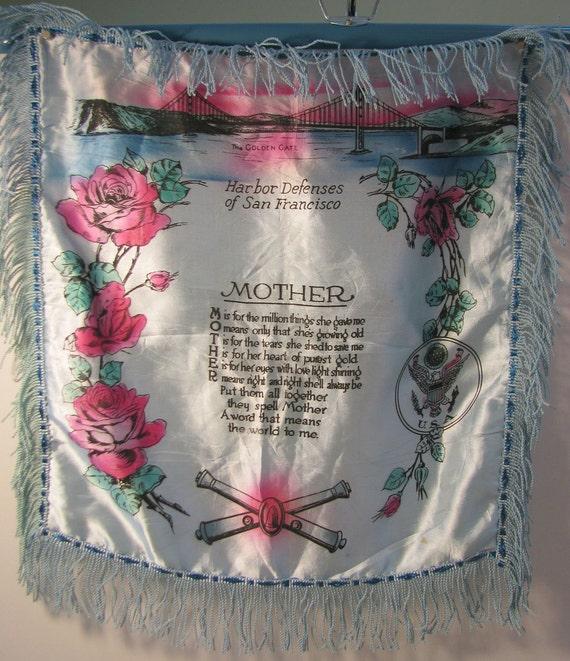 San Francisco WWII Era Souvenir Vintage Pillow Cover with Mother Poem