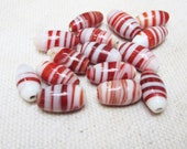 Red and White Striped Lampwork Beads -- Small Oval beads - 15 beads