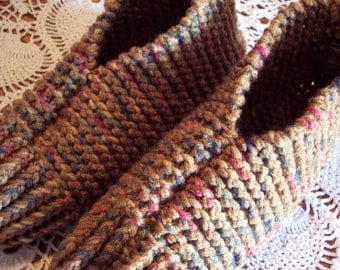 Slippers Mens Cafe Latte and Painted Desert knitted