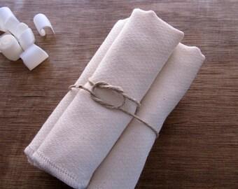 Organic Cotton Birdseye Dishcloth, Double Layer Eco Friendly -- Set of 4, Choice of Thread Edge Color