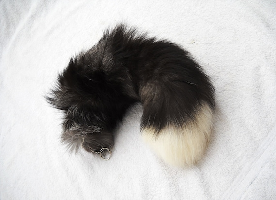"Real 16""-18"" Silver Fox Fur Tail with White Tip Totem Keychain Key Ring Key Fob for Purse, Anime Costume, Etc"