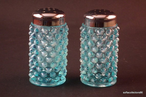 Fenton No. 389 Blue Opalescent Hobnail Salt & Pepper Shakers with Chrome Tops