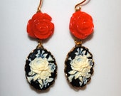 Black, red and white flower earrings