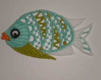 Three Colorful Embroidered Lace Appliques, Fish Appliques, Colors of the Sea, Applique