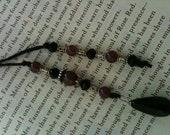 Black and Purple Glass Beaded Hemp Cord Bookmark